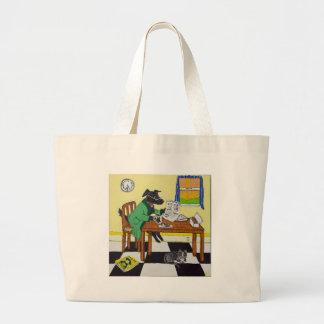 Bolsa Tote Grande Cão que aprecia o café e as rosquinhas