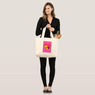 Bolsa Tote Grande Cão w de Airedale Terrier cor-de-rosa & jumbo