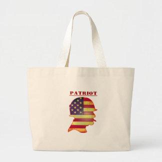 Bolsa Tote Grande Capacete patriótico das forças armadas da bandeira