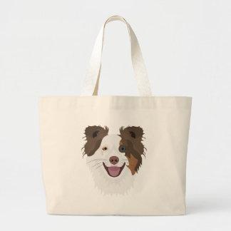 Bolsa Tote Grande Cara feliz border collie dos cães da ilustração
