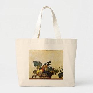 Bolsa Tote Grande Caravaggio - cesta da fruta - trabalhos de arte
