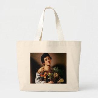 Bolsa Tote Grande Caravaggio - menino com uma cesta de trabalhos de