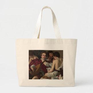 Bolsa Tote Grande Caravaggio - músicos - trabalhos de arte clássicos
