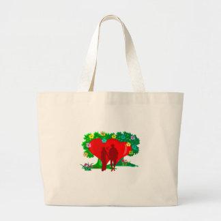 Bolsa Tote Grande casais no coração e em flores vermelhos