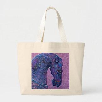 Bolsa Tote Grande Cavalo roxo da dinastia de Tang do mosaico