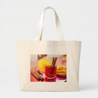 Bolsa Tote Grande Chá do citrino da fruta com canela e laranja