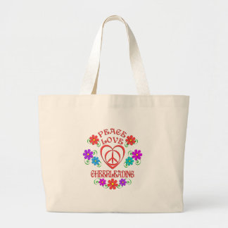 Bolsa Tote Grande Cheerleading do amor da paz