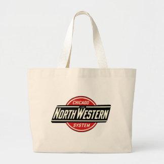 Bolsa Tote Grande Chicago & logotipo do noroeste 1 da estrada de