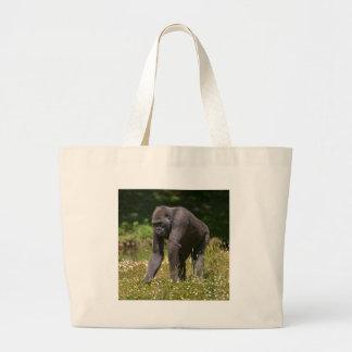 Bolsa Tote Grande Chimpanzé na grama de florescência