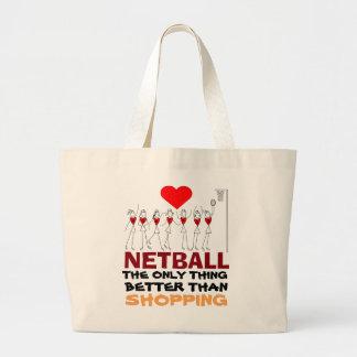 Bolsa Tote Grande Citações do Netball do amor e design das posições