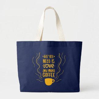 Bolsa Tote Grande Citações engraçadas do vício do amante da cafeína