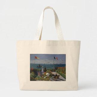 Bolsa Tote Grande Claude Monet - o jardim na arte de Sainte Adresse