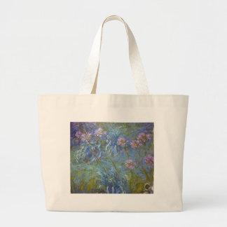Bolsa Tote Grande Claude Monet - pintura clássica das flores do