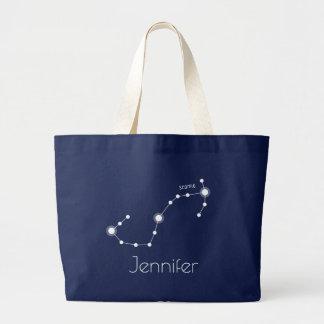 Bolsa Tote Grande Constelação personalizada do zodíaco da Escorpião