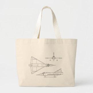 Bolsa Tote Grande Convair_YF-102_Delta_Dagger_3-view