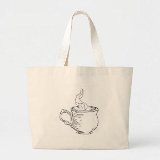 Bolsa Tote Grande Copo do estilo gravado retro do vintage do chá ou