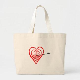 Bolsa Tote Grande Coração alvo com seta