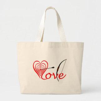 Bolsa Tote Grande Coração amor alvo com seta e arco