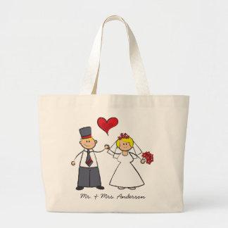 Bolsa Tote Grande Coração bonito do amor do noivo da noiva do casal