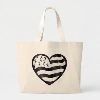Bolsa Tote Grande Coração com bandeira de Bretin para dentro