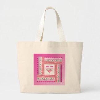 Bolsa Tote Grande Coração da guarnição no quadro da guarnição, rosa,