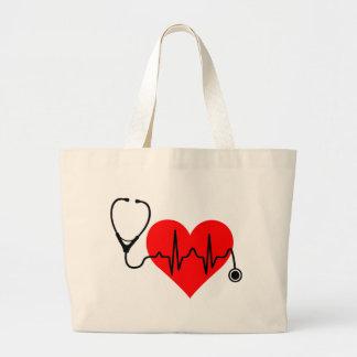 Bolsa Tote Grande Coração da pulsação do coração do estetoscópio
