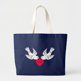 Bolsa Tote Grande Coração das pombas do amor da paz
