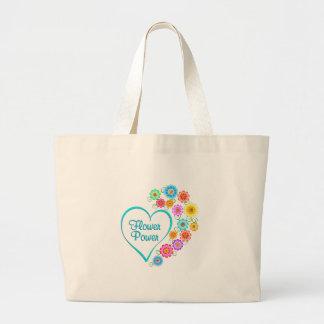 Bolsa Tote Grande Coração de flower power