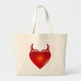 Bolsa Tote Grande Coração impertinente do diabo com chifres