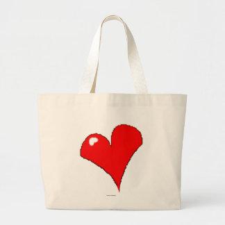 Bolsa Tote Grande Coração vermelho feminino na moda do divertimento