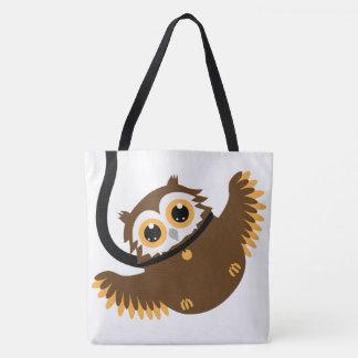 Bolsa Tote Grande - coruja inteligente bonito do animal de