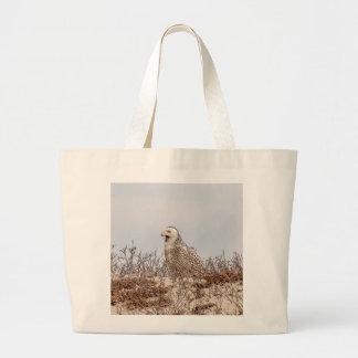 Bolsa Tote Grande Coruja nevado que senta-se na praia