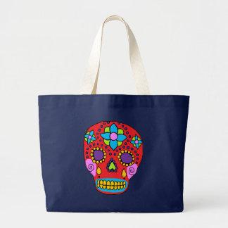 Bolsa Tote Grande Crânio mexicano do açúcar da arte popular