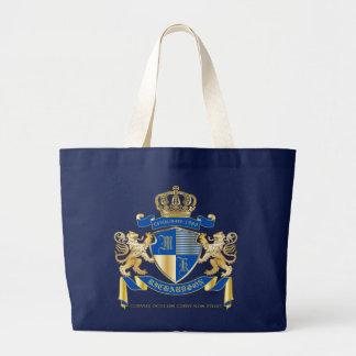 Bolsa Tote Grande Criar seu próprio emblema azul do leão do ouro da