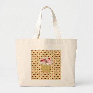 Bolsa Tote Grande Cupcake com velas do coração, vermelho dos