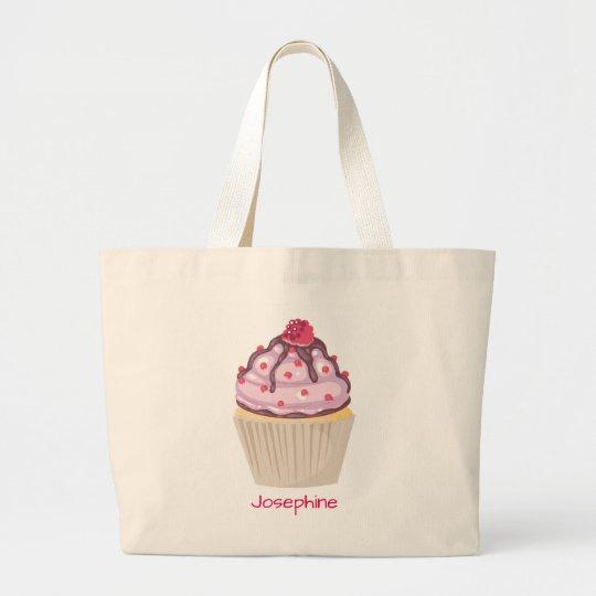 Bolsa Tote Grande Cupcakes cor-de-rosa da baga