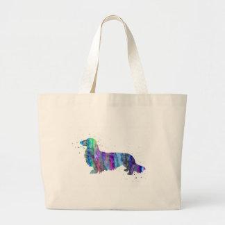 Bolsa Tote Grande Dachshund, impressão da aguarela do cão do
