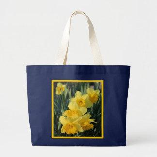 Bolsa Tote Grande Daffodils amarelos com beira