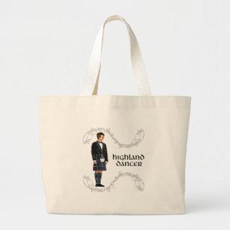 Bolsa Tote Grande Dançarino escocês das montanhas do cavalheiro