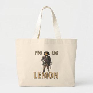 """Bolsa Tote Grande De """"limão do pé Peg"""" do pirata"""