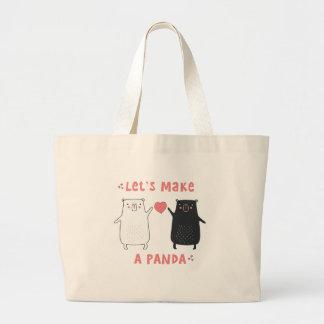 Bolsa Tote Grande deixe-nos fazer uma panda