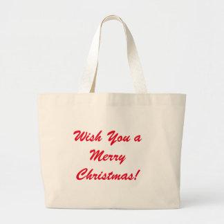 Bolsa Tote Grande Deseje-lhe o Feliz Natal