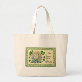 Bolsa Tote Grande Desenhar irlandês do vintage original do Dia de