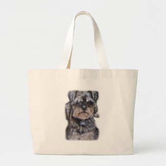 Bolsa Tote Grande Desenho da arte do cão de Terrier