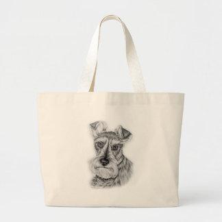 Bolsa Tote Grande Desenho da arte do cão do Schnauzer