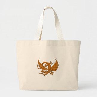 Bolsa Tote Grande Desenho de agachamento do dragão agressivo