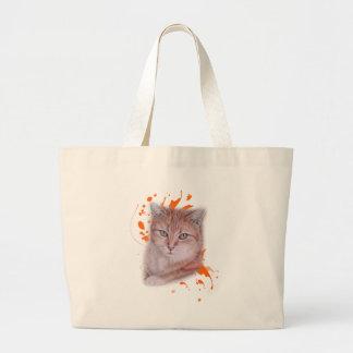 Bolsa Tote Grande Desenho do gato e da pintura alaranjados de gato