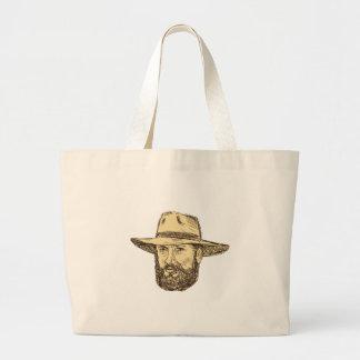 Bolsa Tote Grande Desenho farpado da cabeça do vaqueiro