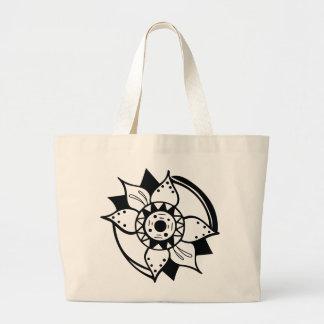 Bolsa Tote Grande Desenho preto e branco monocromático da flor