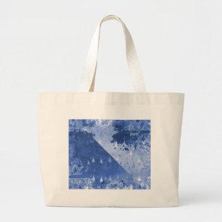 Bolsa Tote Grande Design azul abstrato das gotas da chuva